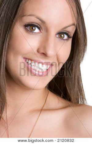 Bright happy attractive young female model smiling stock photo