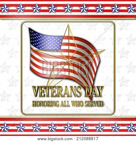 Stock Illustration - Veterans Day, Golden Star, 3D Illustration, Honoring all who served, American holiday template.