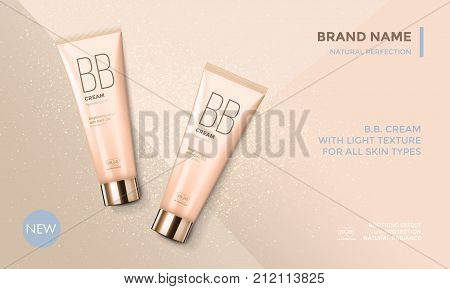 Cosmetic package advertising vector template for BB face cream or skin care moisturizer tube on premium radiant gold glitter background for product design stock photo