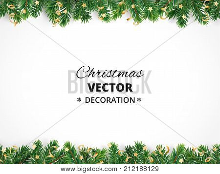 Winter holiday background. Border with Christmas tree branches and ornaments isolated on white. Fir needles garland, frame with streamers. Great for New year cards, banners, headers, party posters. stock photo