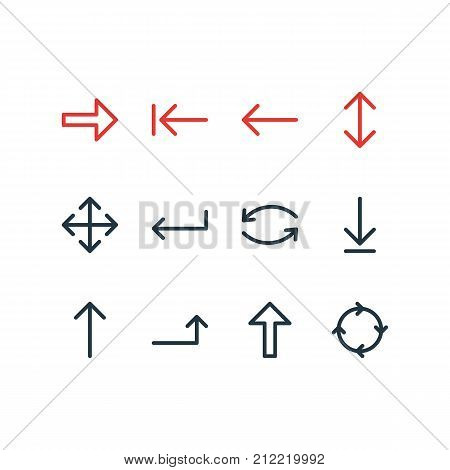 Editable Pack Of Tab, Exchange, Loading And Other Elements.  Vector Illustration Of 12 Arrows Icons. stock photo