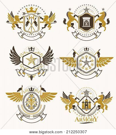 Set of vector vintage emblems created with decorative elements like crowns stars bird wings armory and animals. Collection of heraldic coat of arms. stock photo