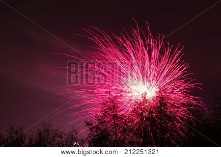 Bonfire night at Conkers in the National Forest Leicestershire. Photos taken from the main pathway outside the complex. Looking through the trees for framing of the firework display. 4 November 2017 stock photo