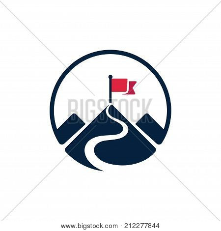 Red flag on mountain top simple vector logo. Path to achieving goals success concept. Isolated icon symbol. stock photo