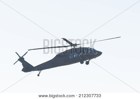 Lakeview Terrace USA - November 4 2017: U.S. Army's Black Hawk Helicopter helicopter during Los Angeles American Heroes Air Show event designed to educate the public about rotary-wing aviation. stock photo