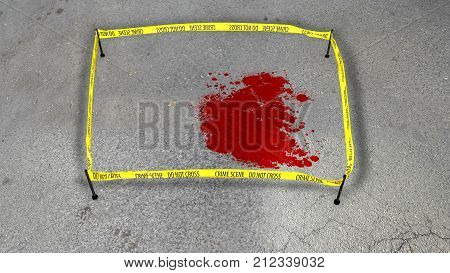 3d illustration of a crime scene with a bloody spot on gray asphalt. The yellow stripe fixed on four sticks makes a barrier for passersby. stock photo