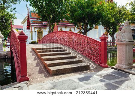 Cup Bridge at Wat Benchamabophit also known as Marble Temple in Bangkok Thailand. stock photo