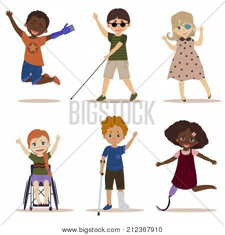 Special needs children. Happy and active children with disabilities. Blind boy, girl in a wheelchair, kids with leg and arm prosthesis, one eyed girl. Differing abilities. Vector on white background stock photo