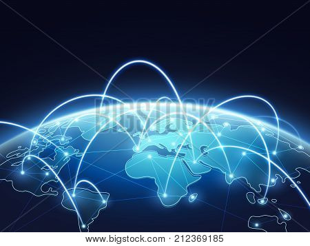 Abstract network vector concept with world globe. Internet and global connection background. Abstract blue world earth digital connection illustration
