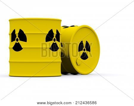 yellow barrels with radioactive waste. 3d stock photo