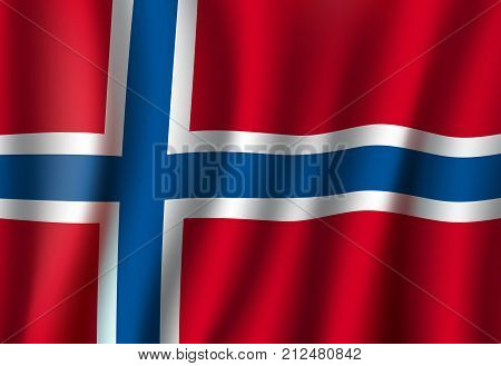 Norway flag 3D background. Norwegian republic European or Scandinavian country official national flag waving with vector curved fabric or waves texture in white and blue cross on red color stock photo