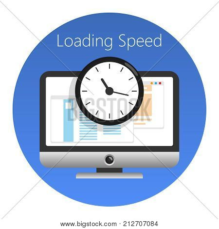 Website loading speed or worked time icon. In a blue circle on a white background. Vector illustration. stock photo