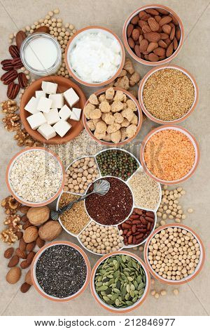 Health food for vegans with tofu, legumes, nuts, seeds, cereals, soya yoghurt, milk and chunks with foods high in fiber, antioxidants, vitamins and minerals on hemp paper background. stock photo