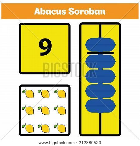 Abacus Soroban kids learn numbers with abacus math worksheet for children Vector Illustration stock photo