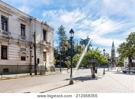 City center of Talca with Plaza de Armas in Chile stock photo