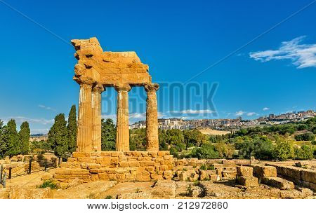 The Temple of Castor and Pollux at the Valley of the Temples in Agrigento - Sicily, southern Italy stock photo