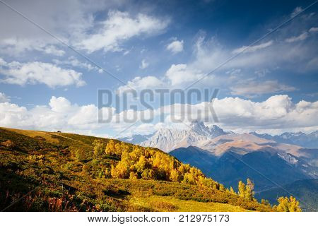 Alpine meadows in the sunny beams. Location Zemo Svaneti, Georgia country, Europe. Main Caucasian ridge. Scenic image of wild area. Explore the beauty of earth. Adventure and lifestyle hiking concept stock photo
