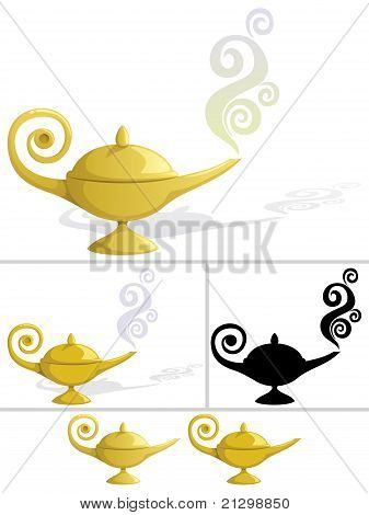 Magic lamp in 5 variations. No transparency used. Basic (linear) gradients used in some versions. No gradients in the rest. The last 2 are without shadow and smoke. stock photo