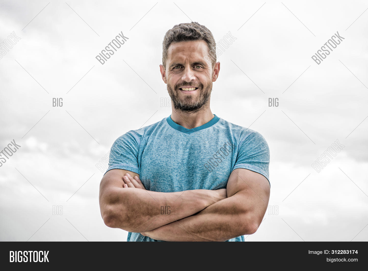 Muscular Male With Beard. Happy Man Isolated On White. Sportsman With Athletic Body. Coach In Fitnes