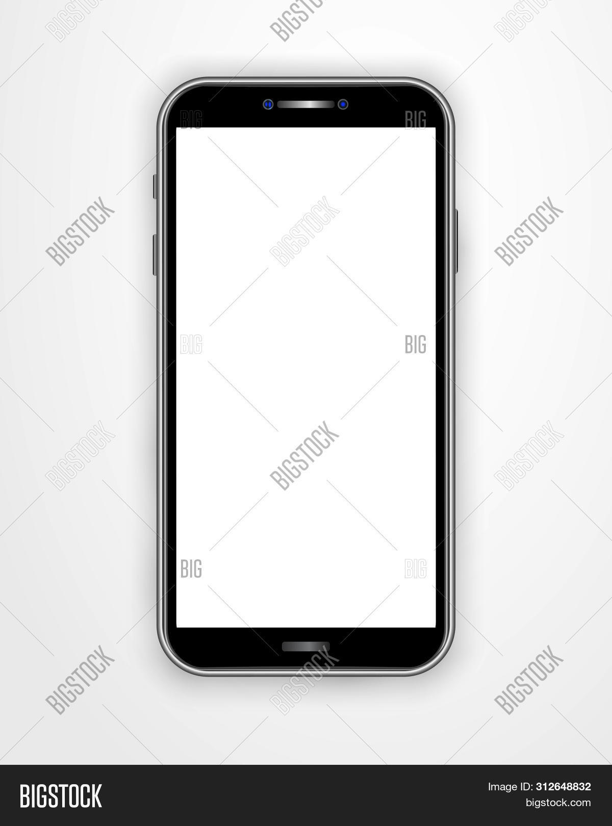 Realistic Smartphone Template With Blank Screen Isolated On White Background. Front View Mobile Cell