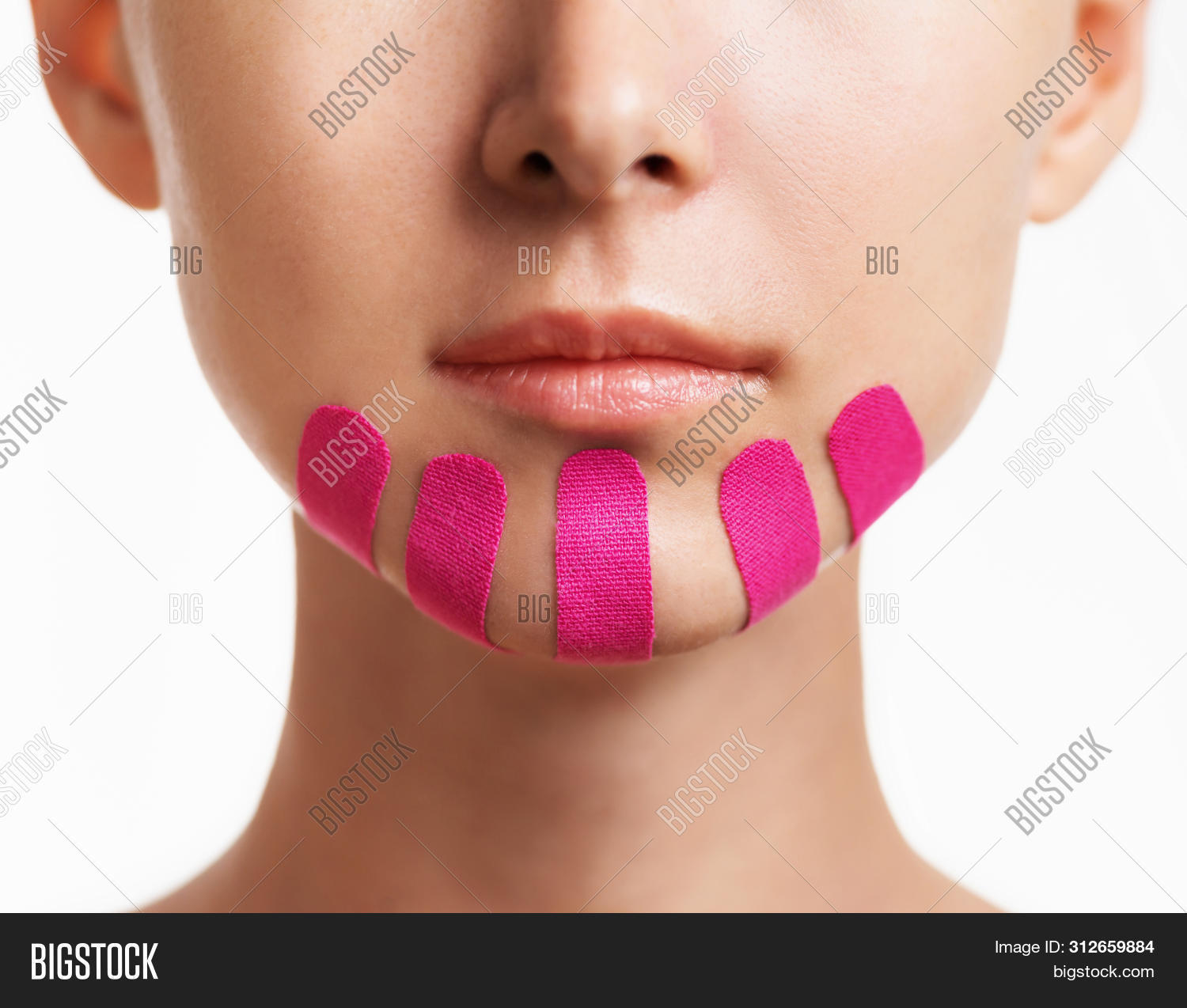 adult,anti-aging,applique,beautiful,beauty,care,chin,closeup,cosmetology,face,facelift,female,front,girl,health,kinesio,kinesiology,medicine,one,pink,procedure,skin,tape,treatment,unrecognizable,wellness,woman,wrinkle,young