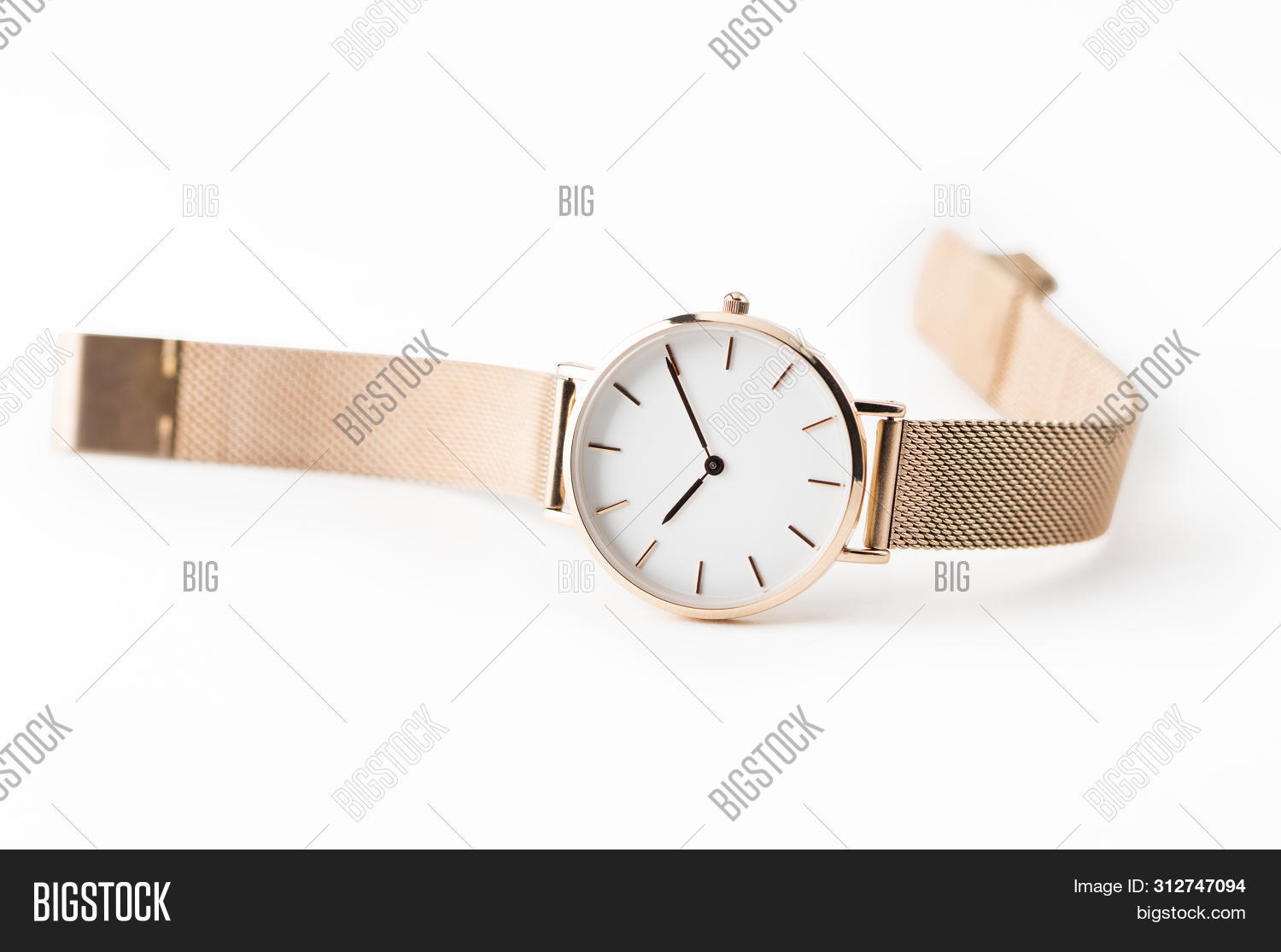 Luxury watch isolated on white background. With clipping path. Gold watch. Women watch. Female watch.
