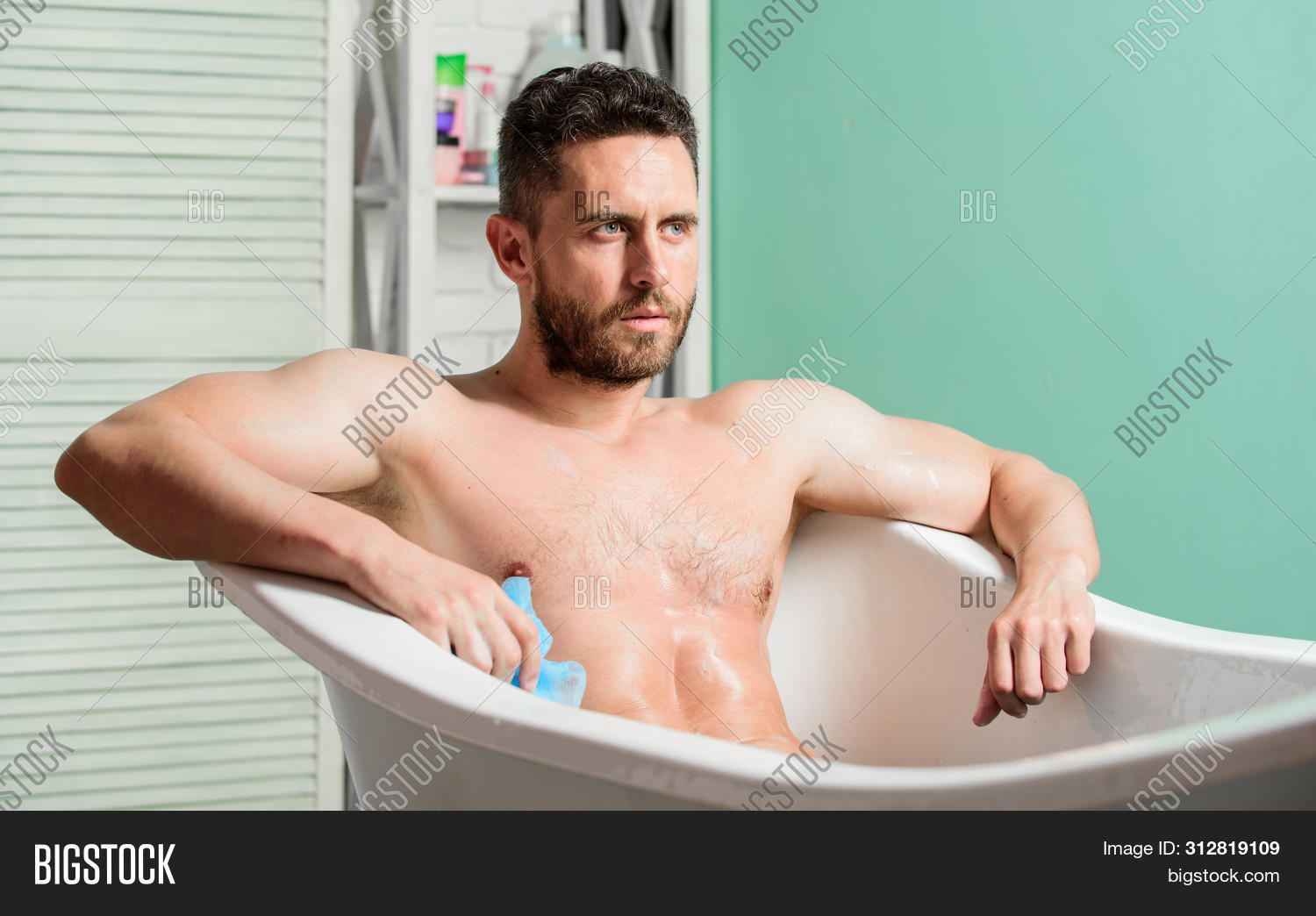Bathing can improve heart health. Personal hygiene. Take care hygiene. Cleaning parts body. Hygiene concept. Man muscular torso sit in bathtub. Skin care. Hygienic procedure concept. Total relaxation