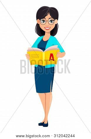 Back to school. Teacher woman cartoon character holding abc-book. Teacher's day. Vector illustration stock photo
