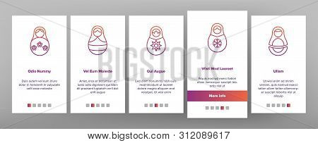 Matryoshka Toy Vector Onboarding Mobile App Page Screen. Matryoshka, Traditional Russian Decorative Souvenir Linear Pictograms. Matrioshka, Handcrafted Wooden Dolls in Ethnic Costumes stock photo