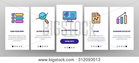 Analysing Data Vector Onboarding Mobile App Page Screen. Information Analysis Charts, Diagrams Linear Pictograms. Statistical Reports, Presentations, Analytical Thinking. Illustrations stock photo