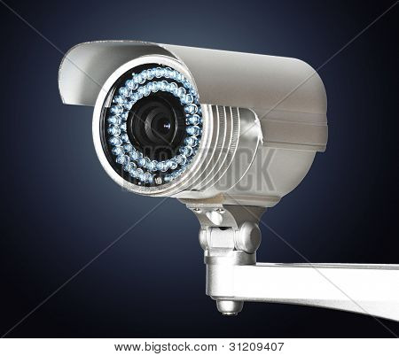 fine image of classic cctv infrared security camera isolated on white stock photo