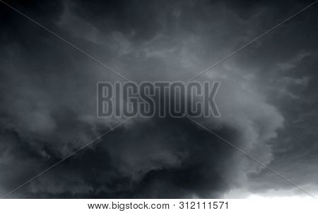 Beautiful storm sky with clouds, apocalypse, tunder, tornado stock photo