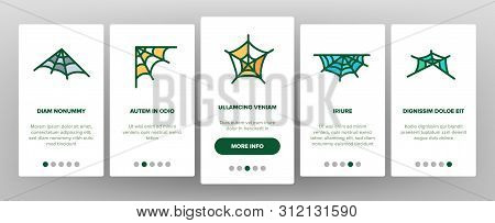 Spider Web, Cobweb Vector Onboarding Mobile App Page Screen. SpiderWeb, Spider Trap For Insects Outline Symbols Pack. Halloween Spooky Decoration. Abandoned Place. Natural Thread Illustrations stock photo