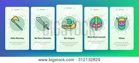 Vikings Life Active Rest Vector Onboarding Mobile App Page Screen. Vikings Accessories, Weapons, Ammunition Linear Pictograms. Traditional Scandinavian Swords, Axes, Helmets Illustrations stock photo