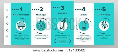 Color Heating And Cooling System Vector Onboarding Mobile App Page Screen. Heating And Cooling Air Conditioning Outline. Temperature Control Equipment. Radiator, Fan, Thermometer Contour Illustrations stock photo