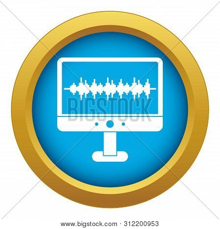 Sound waves icon blue isolated on white background for any design stock photo