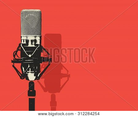Vector banner with studio microphone on the red background in realistic style. Professional sound recording equipment. Suitable for banner, flyer, ad, poster, invitation to karaoke party stock photo