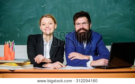 Private elite school. College enrollee. Entrance examination. Apply to enter high school. Selection committee concept. Interviewing enrollee. Teacher principal decide who will enter private school stock photo