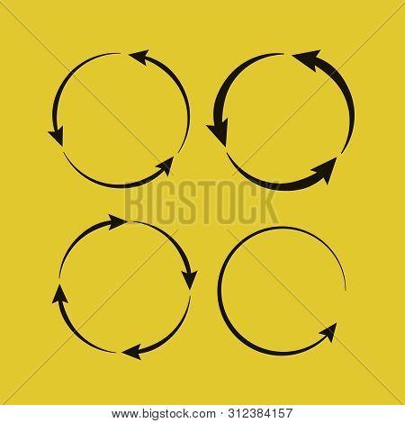 Circle arrow icon. Circled cursor web recycling progress buttons stock photo