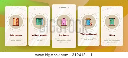 Dwelling House, Condo Onboarding Mobile App Page Screen . Condo, Apartment Buildings. Residential Area, Metropolis Pictograms Collection. Urban Architecture Illustrations stock photo