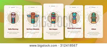 Tribal Ancient Idols Onboarding Mobile App Page Screen. Religious Idols. Ethnic Ceremonial Outline Symbols Pack. African Culture, Indian Animal Totems. Native Poles Isolated Illustrations stock photo