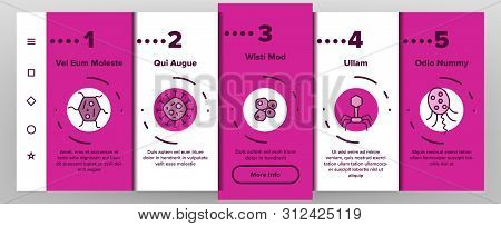 Microorganisms Cells Onboarding Mobile App Page Screen. Viruses, Bacterias, Unicellular Organisms, Protozoa Linear Illustrations. Cocci And Bacillus. Infectious Agent, Bacteriophage Drawings stock photo