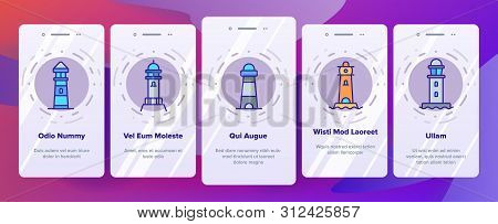 Lighthouse, Sea Beacon Linear Onboarding Mobile App Page Screen. Lighthouse, Signal Light House Thin Line Contour Symbols Pack. Sailor Safety Warning Pictograms Collection. Illustrations stock photo