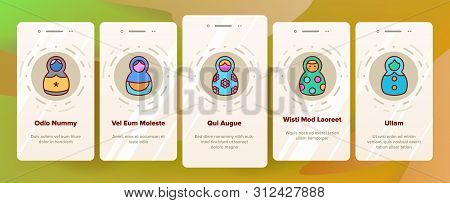 Matryoshka Toy Onboarding Mobile App Page Screen. Matryoshka, Traditional Russian Decorative Souvenir Linear Pictograms. Matrioshka, Handcrafted Wooden Dolls in Ethnic Costumes stock photo
