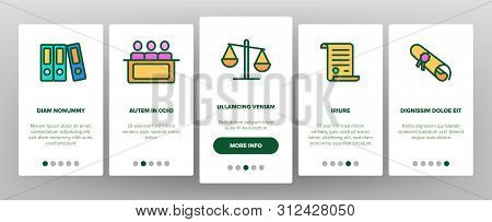 Judgement, Court Process Onboarding Mobile App Page Screen. Judgement, Trial Procedure Linear. Legal Accusation, Litigation. Crime Investigation, Verdict, Indictment Oars Illustrations stock photo