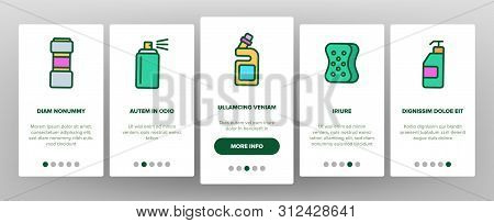 Disinfectant, Antibacterial Substance Onboarding Mobile App Page Screen. Disinfectant, Sanitation and Hygiene Linear. Insecticides, Cleaning Sprays, Washing Liquid, Detergent Illustrations stock photo