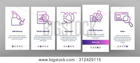 Analysing Data Onboarding Mobile App Page Screen. Information Analysis Charts, Diagrams Linear Pictograms. Statistical Reports, Presentations, Analytical Thinking. Illustrations stock photo