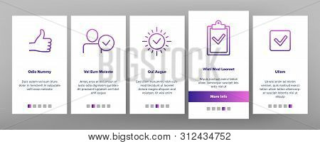 Color Approved And Certified Onboarding Mobile App Page Screen. Approved, Quality Control Guarantee Outline Symbols Pack. Correct Choice Selection. Checkmark, Confirm, Tick Illustrations stock photo