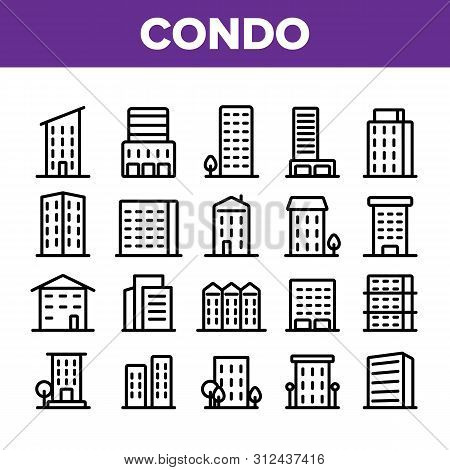 Dwelling House, Condo Linear Icons Set. Condo, Apartment Buildings Thin Line Contour Symbols Pack. Residential Area, Metropolis Pictograms Collection. Urban Architecture Outline Illustrations stock photo