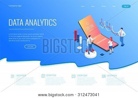Landing page with Isometric Business and Finance Analysts, Analyzing Key Performance Indicators, Business Data Analyst and Auditing stock photo
